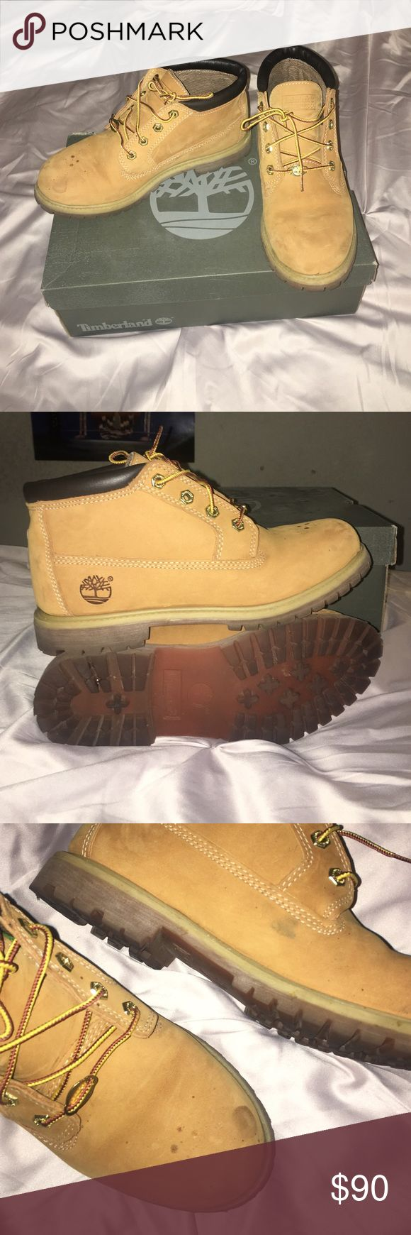 Timberland boots Timbs for sale. In pretty great condition, only been worn for about a months length in time over the course of a year. Some minor spots on the shoes but barely noticeable. Im normally a size 9 and these are 8.5 so shoe size runs a bit big. Timberland Shoes Winter & Rain Boots
