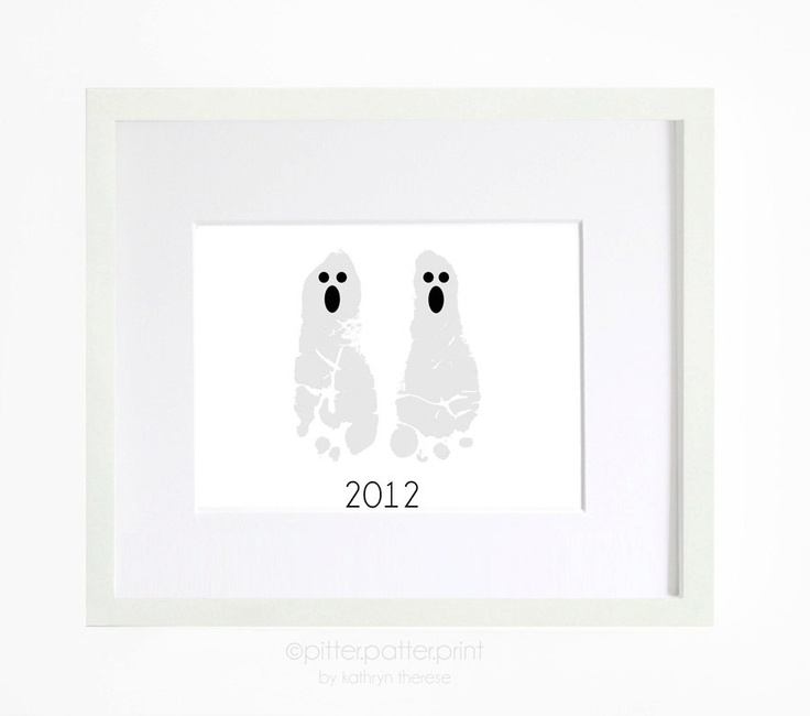 Ghost Halloween Decor - Custom Baby Foot Prints - Personalized Kids Halloween Decoration Art Print - Baby's First Halloween. $25.00, via Etsy.