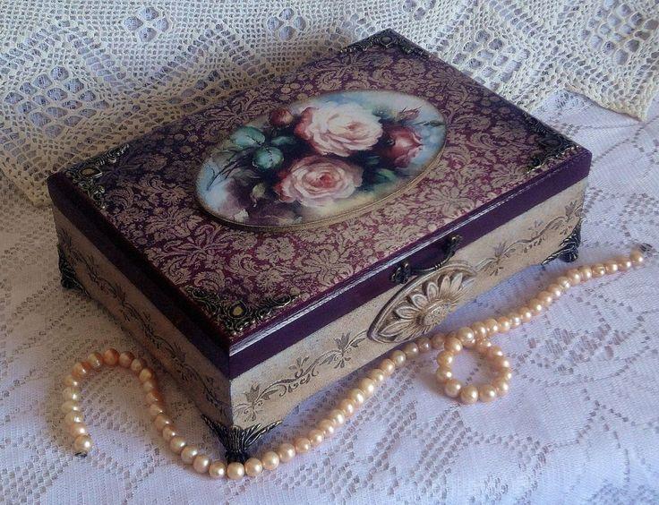 """Купить Шкатулка """" Пышные розы"""" - кремовый, шкатулка, шкатулка декупаж, шкатулка для украшений"""