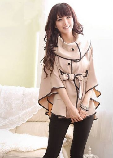 Princess Style Vogue Apricot Turndown Collar Cape Coat on sale only US$22.63 now, buy cheap Princess Style Vogue Apricot Turndown Collar Cape Coat at modlily.com