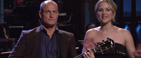 Jennifer Lawrence Crashes Woody Harrelson's 'SNL' Monologue