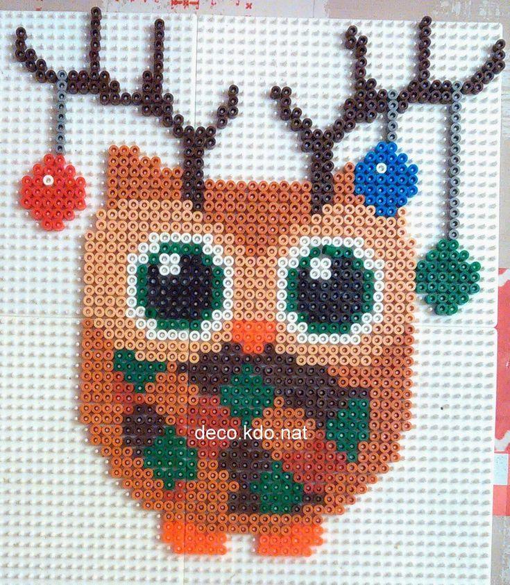 christmas owl hama perler beads by deco kdo nat. Black Bedroom Furniture Sets. Home Design Ideas