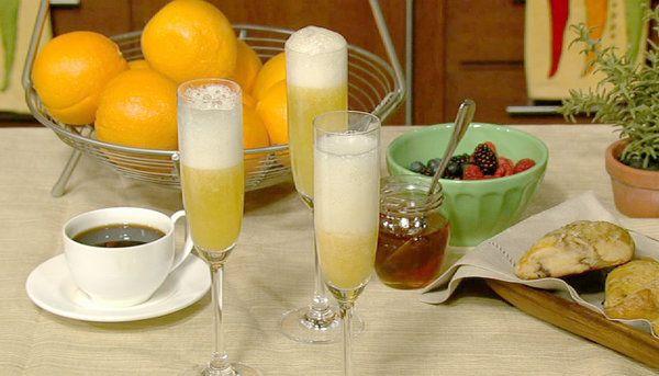 The Chew | Recipe  | Sunny Anderson's Slick Chick's Mango Bellini (chardonnay, frozen mango, agave, sparkling water)