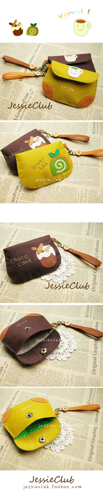 felt coin purse with cute images