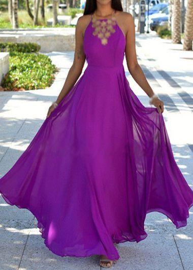 Purple Criss Cross Back Maxi Dress - USD $24.56
