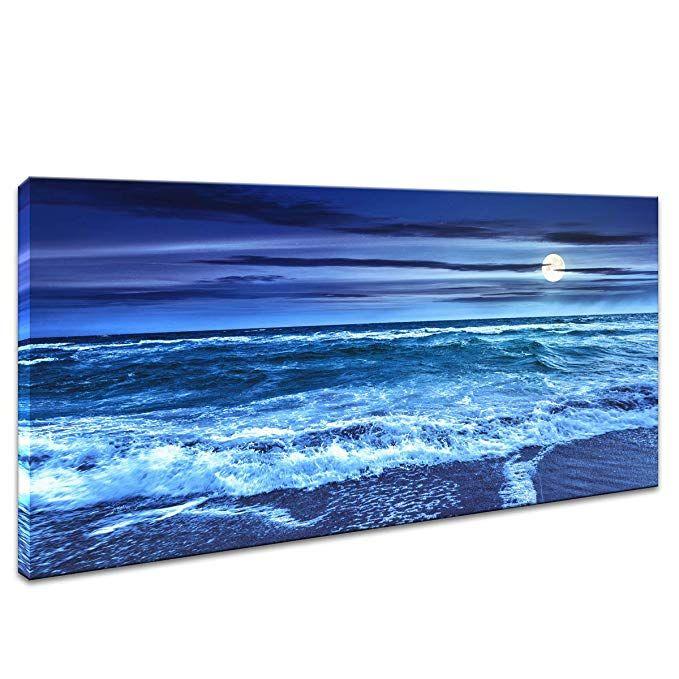 Amazon Com Jlxart Wall Art Decor Moon Blue Beach Sea Ocean