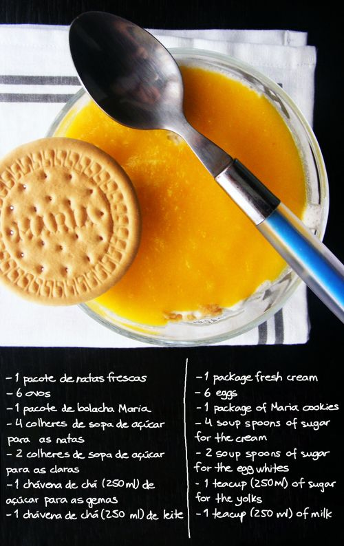 Recipe for portuguese sweet 'Natas do céu'.