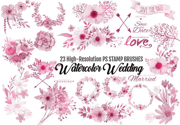 Watercolor Wedding Brushes 23 Romantic Designs For Photoshop