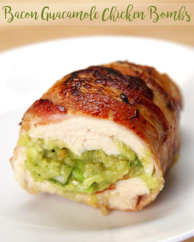 Guacamole Chicken Bombs | Wrapped In Bacon  1. Preheat oven 400°F. 2. Cut around the pit of the avocado, removing the halves from each other. Remove the pit and scoop out the avocado.  In a large bowl, combine the avocado, onion, tomato, cilantro, salt, and lime juice.  3. Season chicken breasts. Slice chicken breasts in half crosswise. Take the guacamole and pack it into the pocket. 4. Wrap the chicken with two strips of bacon,  5. Sear the bacon-wrapped chicken