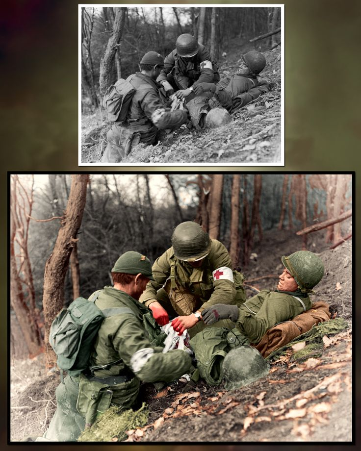 Private Benny Barrow of the 4th Infantry Division getting treated by medics during the Battle of Hürtgen Forest in the fall of 1944.