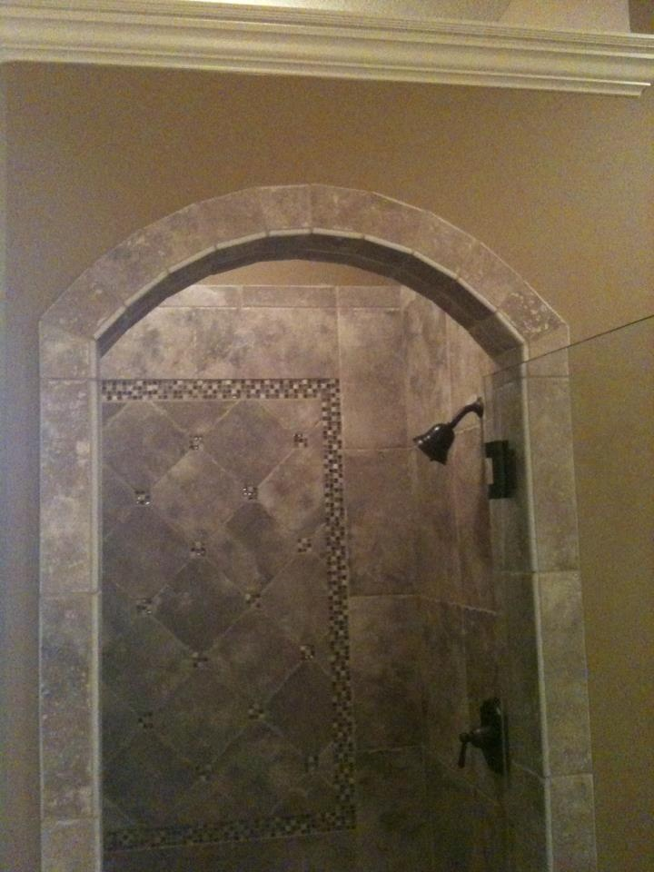 Shower design with arched entrance american olean ash creek walnut northcraft flooring Bathroom tile showers