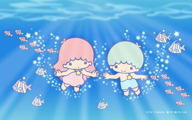 【Android iPhone PC】Little Twin Stars Wallpaper 201708 八月桌布 日本官方Twitter票選海洋暢泳版