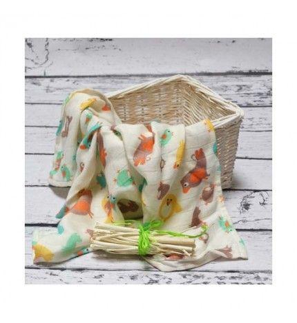 Otulacz kocyk bambusowy 120x120 cm ptaszki kolorowe