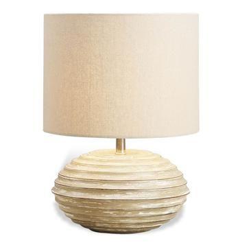 Trevett White Wash Wood Coastal Beach Style Lamp