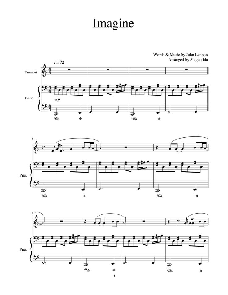 Print And Download In Pdf Or Midi Imagine Imagine Music By John Lennon For Trumpet And Piano Imagine John Lennon Imagine John Lennon Piano John Lennon