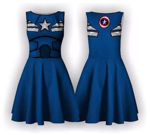 Vestido Capitão América Vingadores Halloween Avengers Heróis - R$ 139,90