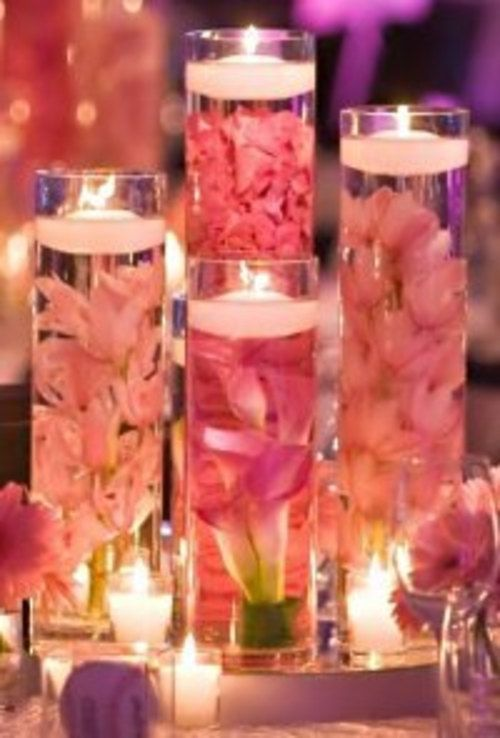 Set of 9 Custom Submerged Flower Centerpieces with Glass Cylinder Vases and Floating Candles You Choose Flowers and Candles on Etsy, $150.00