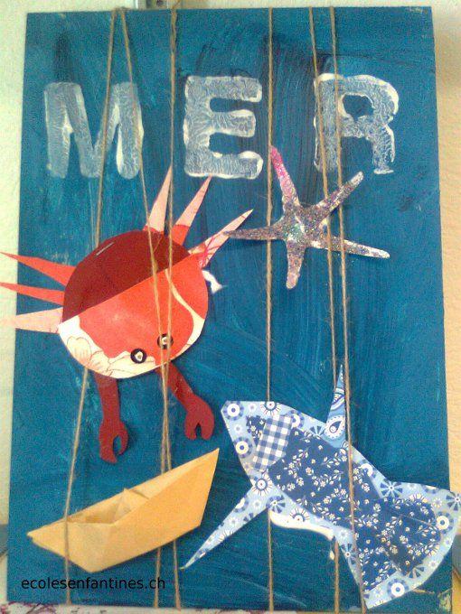 une planche de bois, faire un fond au pinceau. aire dessiner sur du papier scrapbooking un poisson , puis un autre poisson un peu plus grand de même forme . Coller le petit poisson sur le grand , ajouter des nageoires , un œil...l'insérer entre les ficelles et coller.