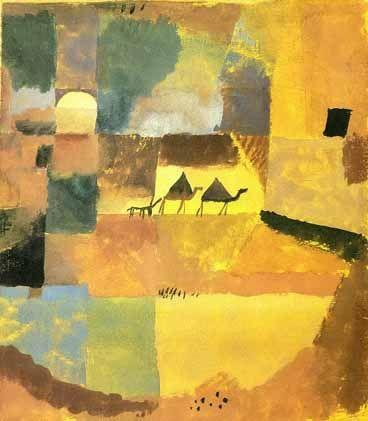 Dit schilderij heb ik toegevoegd, omdat de werken van Paul Klee mij erg aanspreken. Dit is een abstract schilderij, waarin je toch een mooi (Egyptisch) landschap kunt zien.