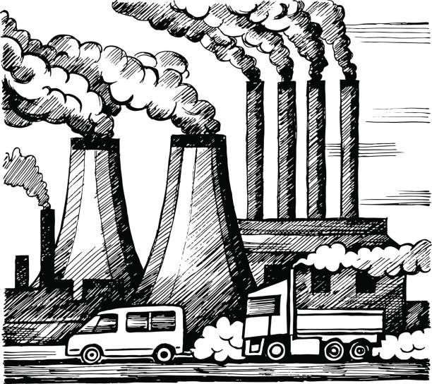 Ecology air and atmosphere pollution. Emission of harmful