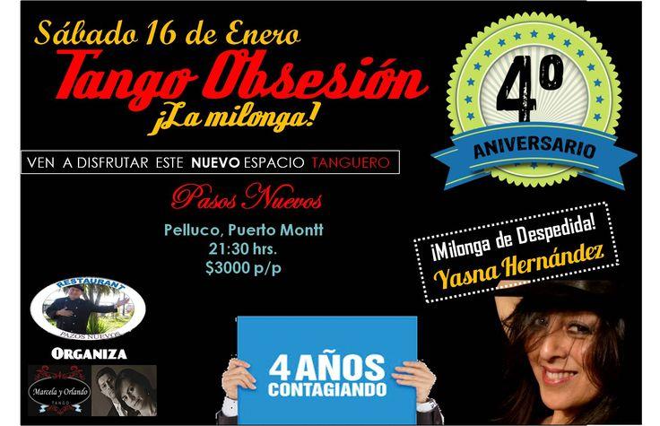 Afiche promocional de Milonga Tango Obsesión de Enero 2016, en su Aniversario N° 4.