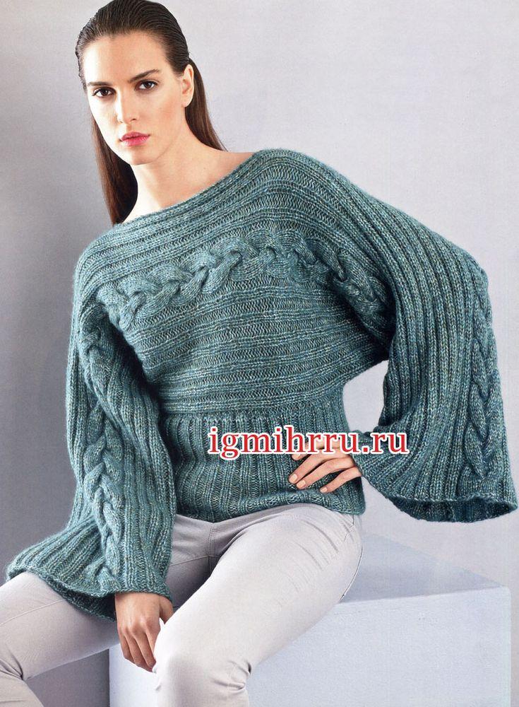 Сине-зеленый пуловер с «косами», связанный поперек. Вязание спицами