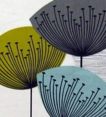 Dandelion Clocks fabric 50s vtg retro Sandersons
