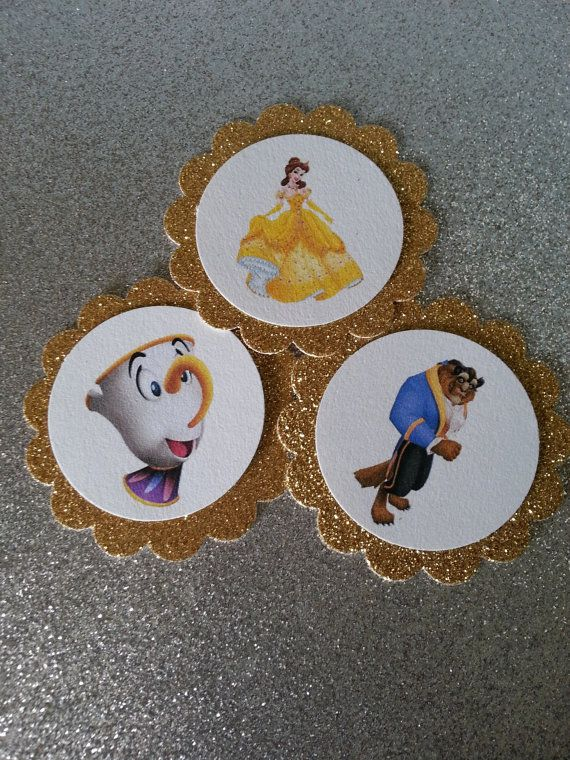 Beauty and the Beast Cupcake toppers por LoveITSoirees en Etsy