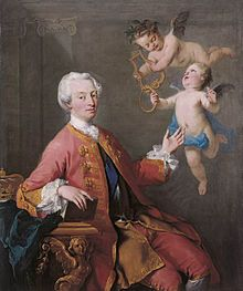 Frederick Prince of Wales, son of George II and Caroline of Ansbach. George I created him Duke of Edinburgh. He married Princess Augusta of Saxe-Gotha and their first son eventually became George III. Frederick never became king as he died at the age of 44 from a burst lung abscess.