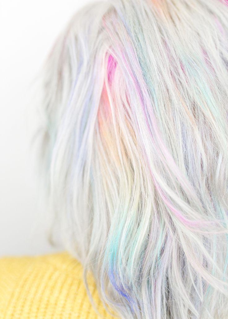 Pastel purple hair with rainbow streaks