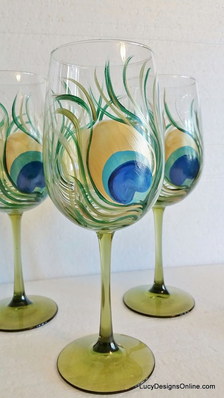 DIY Peacock Feather Wine Glasses Tutorial