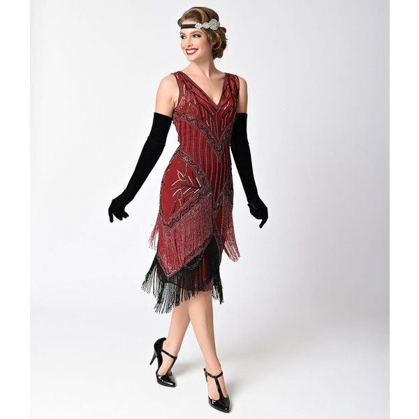 Unique Vintage 1920s Style Burgundy & Black Beaded Remarque Fringe... ($248) ❤ liked on Polyvore featuring dresses, red, 1920s gatsby dress, vintage beaded cocktail dress, 20s flapper dress, burgundy cocktail dresses and 1920s dress