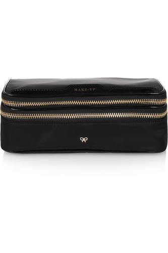 Make-Up II medium patent leather-trimmed cosmetics case #women #covetme #anyahindmarch