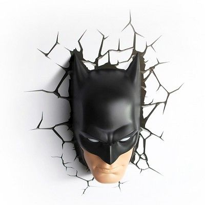 Warner Bros 3D Wall Nightlight Batman Face, Adult Unisex, Multi-Colored