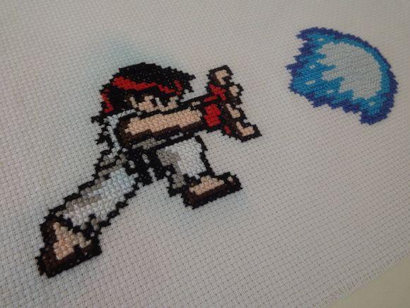 Geek Game Hadouken Ryu Bordado Ponto Cruz