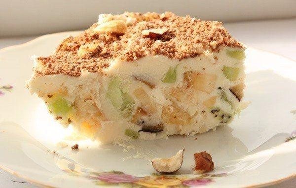 Творожное мороженое с фруктами, очень красиво (и просто) оформленное