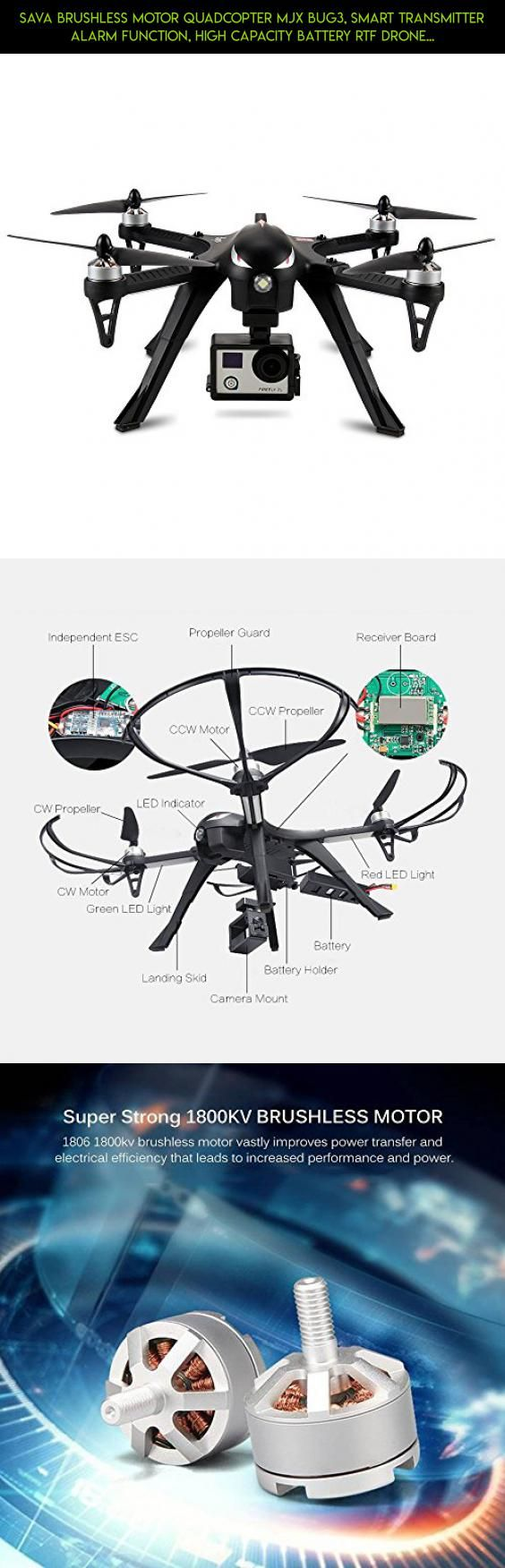 SAVA Brushless Motor Quadcopter MJX BUG3, Smart Transmitter Alarm Function, High Capacity Battery RTF Drone without Camera-Support GoPro HERO Cameras and Sports Cameras #racing #shopping #fpv #plans #bugs #products #parts #mjx #drone #technology #3 #tech #kit #camera #drone #gadgets