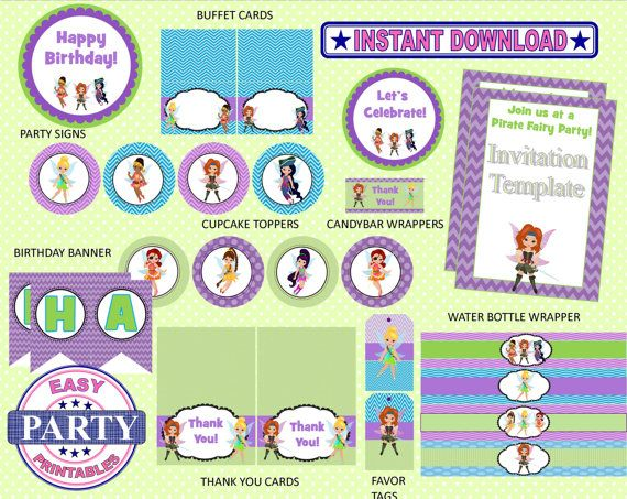 SALE Instant Download Pirate Fairy Party by EasyPartyPrintables, $9.95