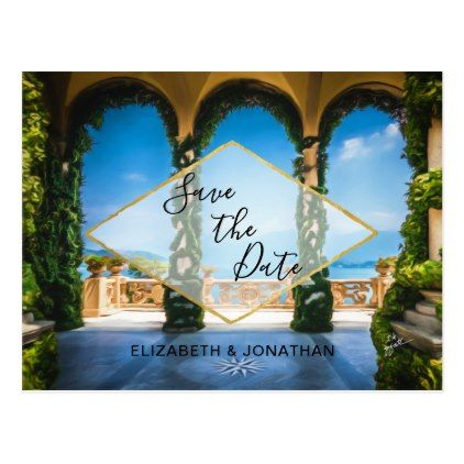 Italy Elegant Blue Green Gold Save The Date Postcard - script gifts template templates diy customize personalize special