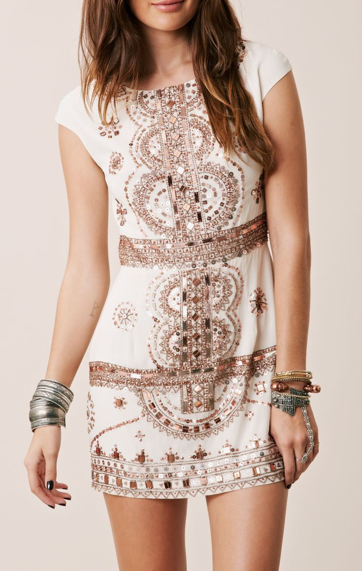 Embellished Indian shift. Gorgeous boho dress. Love the stacked wrist wear also!