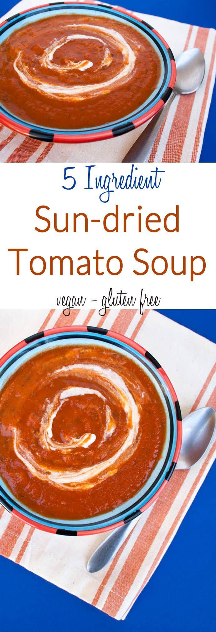 5 Ingredient Sun-dried Tomato Soup (vegan, gluten free) - This quick and easy soup is made with mostly pantry staples. It is healthy and comforting!