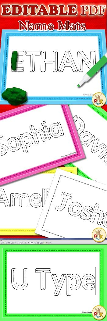ON SALE $$$ Name Practice EDITABLE PDF, name recognition and spelling, name tracing, playdough mats, correct letter formation activity for pre-school, kindergarten or prep. Great way to teach children how to correctly form the letters of their names $