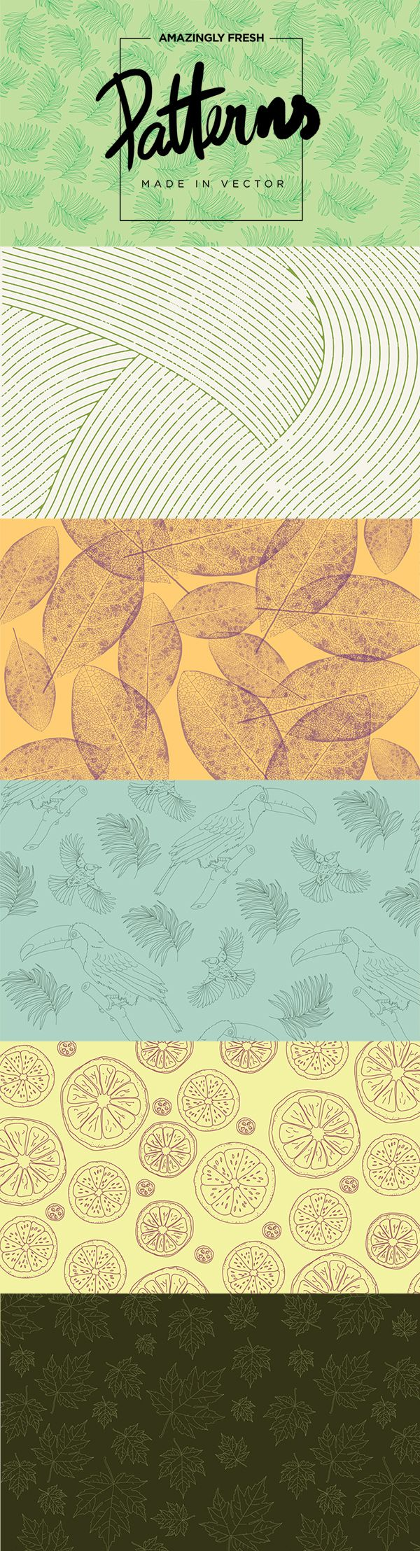 6 FRESH PATTERNS IN VECTOR. DOWNLOAD HERE: https://creativemarket.com/jack.red/171273-6-Fresh-Patterns-in-VECTOR%21 #summer #patterns #textures #vector #free