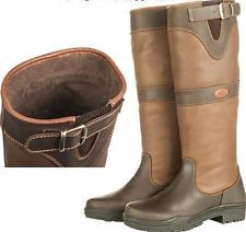 HKM Scotland Winter Leather Country Horse Riding Boots Brown Faux Fur Lining