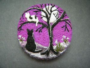 Handmade needle-felted brooch Come down Kitt by Tracey Dunn