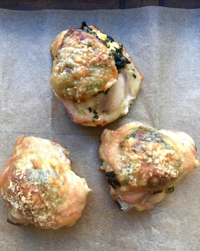 Spinach and Feta Stuffed Chicken Thighs are great with frozen spinach. Looking for something new to make with chicken? This recipe will impress!