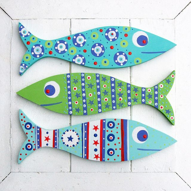 Wooden Fish Decorations by The Bunny Maker, via Flickr