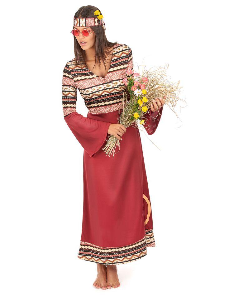 Dit bordeaux rode hippie kostuum voor vrouwen kan gebruikt worden als carnavalskleding en terug te keren naar de jaren 60! - Nu verkrijgbaar op Vegaoo.nl