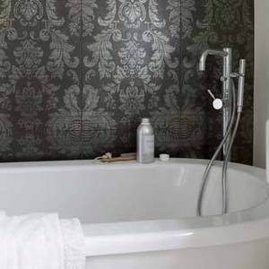 I love the ideao of wallpaper in the bathroom, and I love damask!
