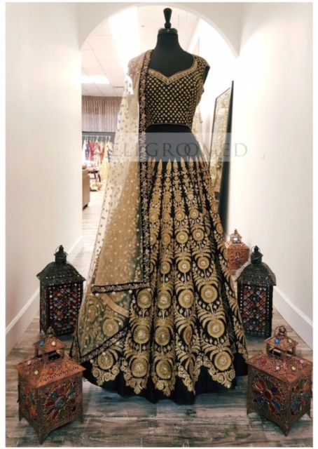 This exquisite vintage black lehenga will simply take your breath away! The incredible embroidery placement and design truly sets this piece apart! A stunning #wellgroomedinc original ✨ All of our pieces can be customized to meet your personal style (fit, colour, fabric etc) Email us at sales@wellgroomed.ca #allthingsbridal #indianfashion #wedding #bride #style #fashion #designer #Sikh #Punjabi #Indian #Indianbride #lengha